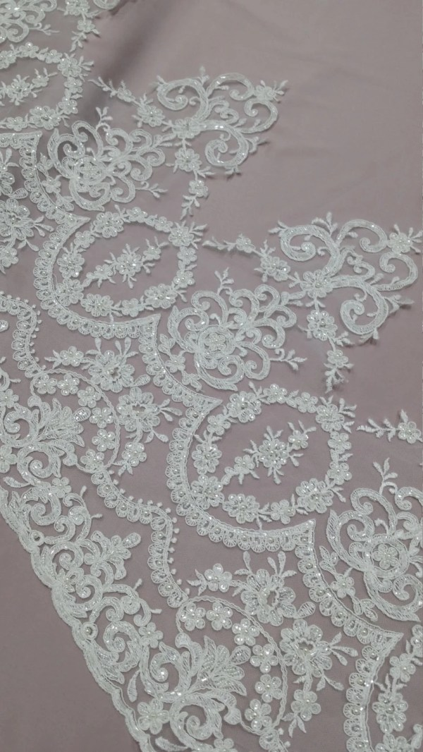 Beaded Ivory Lace Trimming Sequin Trim Pearl