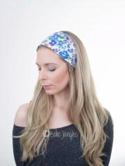 blue flowers hair wrap cotton headband