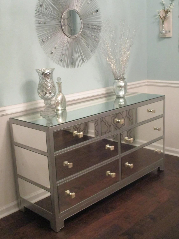 Mirrored Dresser or Buffet Silver Modern Mirror Dresser