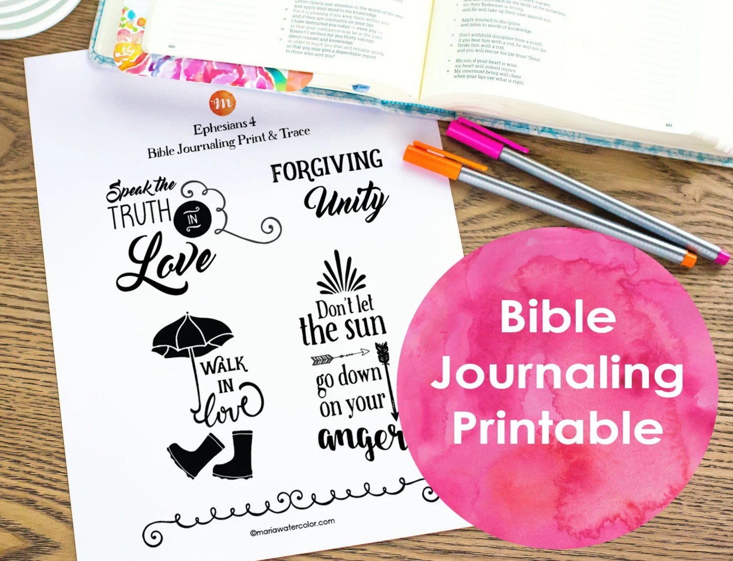 Bible Journaling Printable Ephesians 4 By Mariawatercolor On Etsy