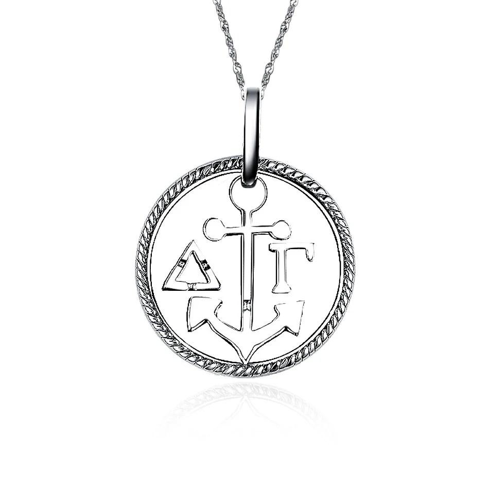 Delta Gamma Necklace Circular Anchor Design Sterling