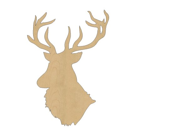 Reindeer Head Cutout Shape Laser Cut Unfinished Wood