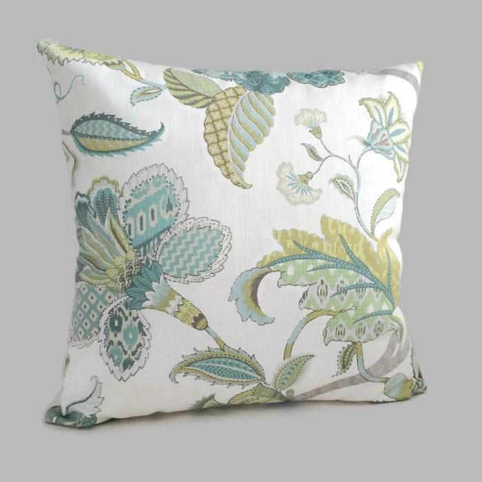 Jacobean Pillow French Country Throw Pillow Blue Green