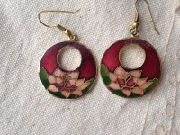 Red Cloisonne Earrings Vintage cloisonne earrings earrings