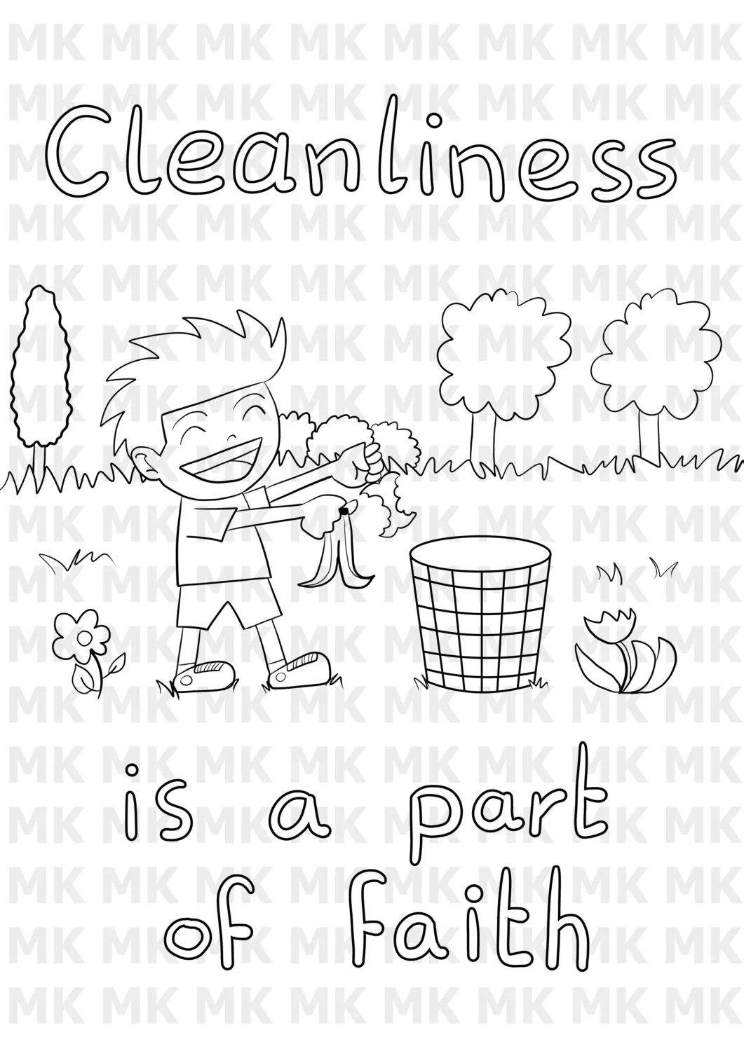Printable Muslim Child coloring: Cleanliness by MuslimChildArt