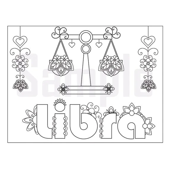 Zodiac File sign-libra Adult Coloring page by SueAtHCS on Etsy