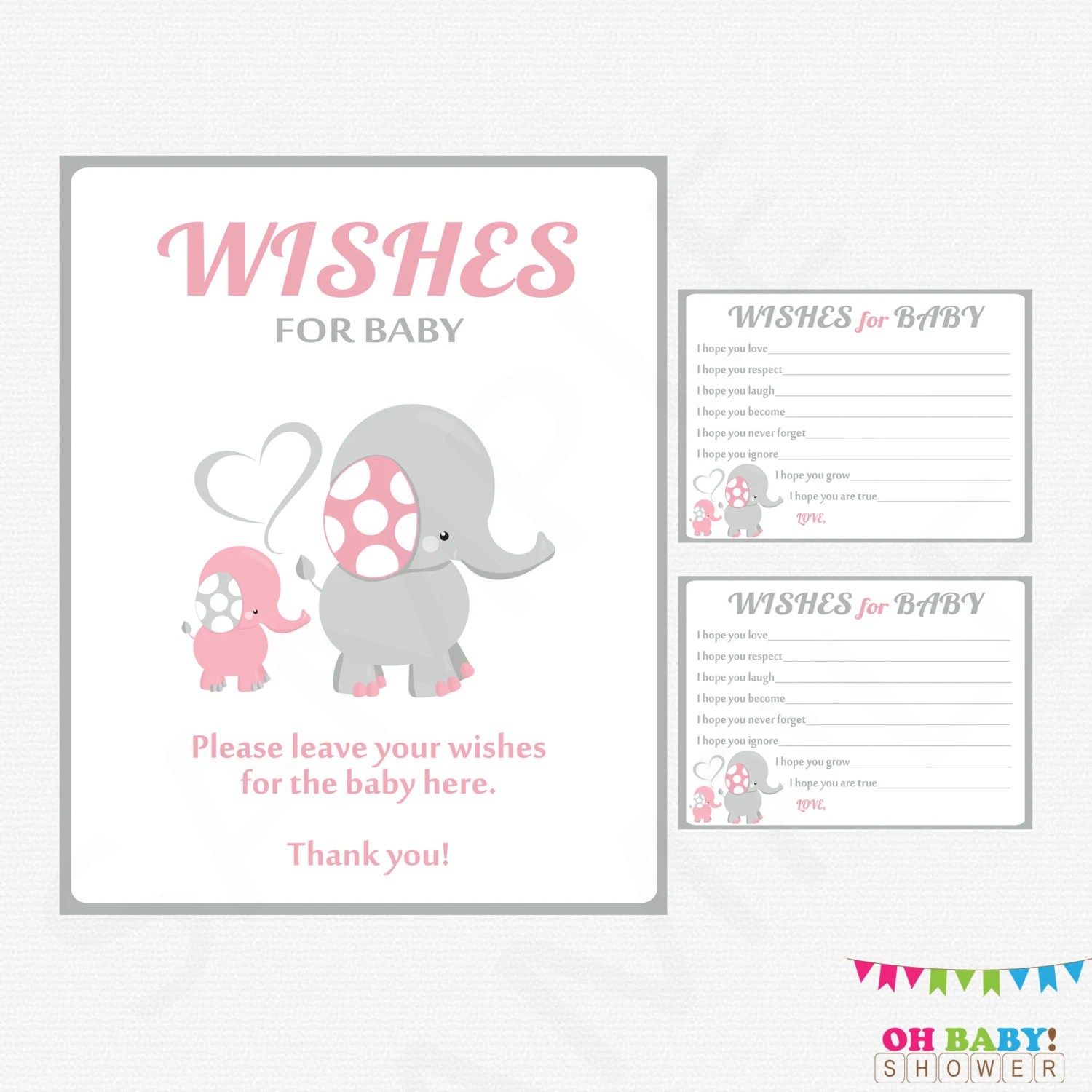 Pink and Gray Elephant Baby Shower Girl Baby Shower Wishes