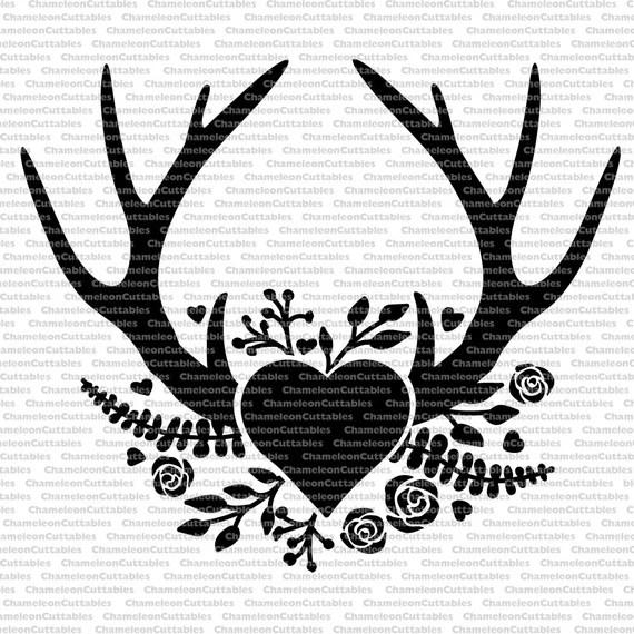 Download antlers heart black, svg, cut, file, decal, floral ...
