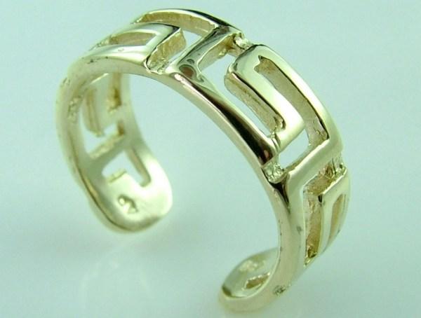 10k 14k Gold Roman Key Knuckle Toe Ring Adjustable