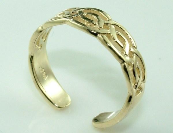 10k Gold Celtic Weave Knuckle Toe Ring Adjustable