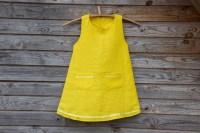 Bright Yellow Linen Dress Flower Girl Summer Dress Rustic