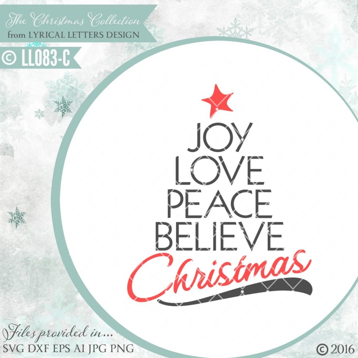 Download Joy Love Peace Believe Christmas LL083 C SVG Vector