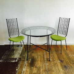 Lime Green Bistro Chairs Rocking Chair With Cane Seat And Back Wrought Iron Patio Furniture Mid Century