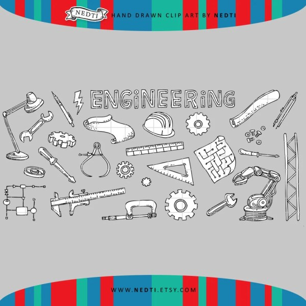 Engineering Mechanical Doodle Clipart Stem Steam