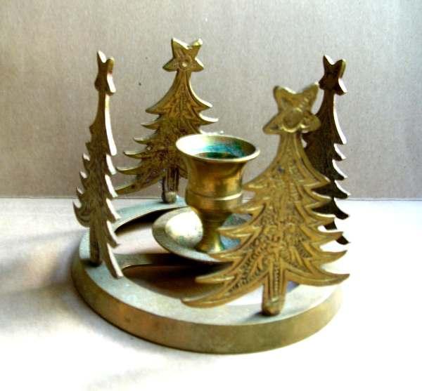 Vintage Christmas Tree Candle Holder Vintage Brass Candle