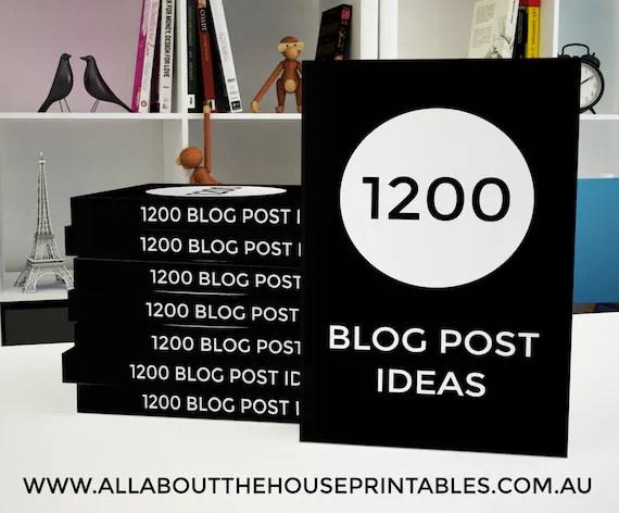 1200 Blog Post Ideas Ebook printable blogging, blog post ideas, blog topic, blog headlines, blog brainstorm, editable worksheet, instant DL
