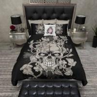 Lightweight Skull Bedding Large Dark Gothic by InkandRags