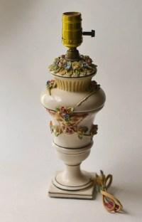 Italian Porcelain Lamp Rose Lamp Made in Italy Flowers