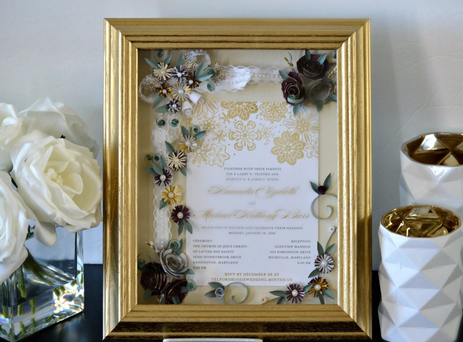 Custom Wedding Invitation Framed Wedding