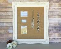 Burlap bulletin board shabby chic decor white bulletin