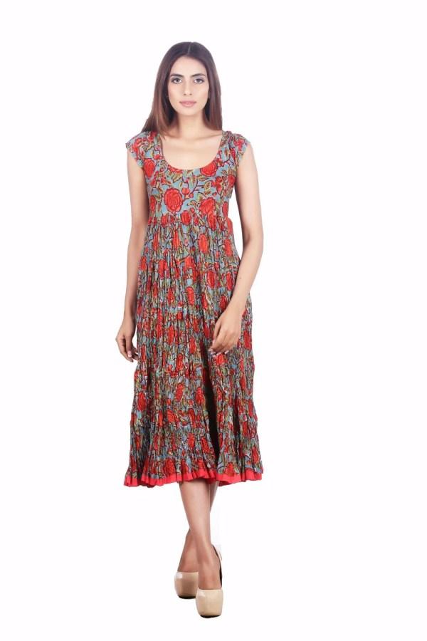 Long Sundress In Red Rose Block Print Cotton Aurobelle