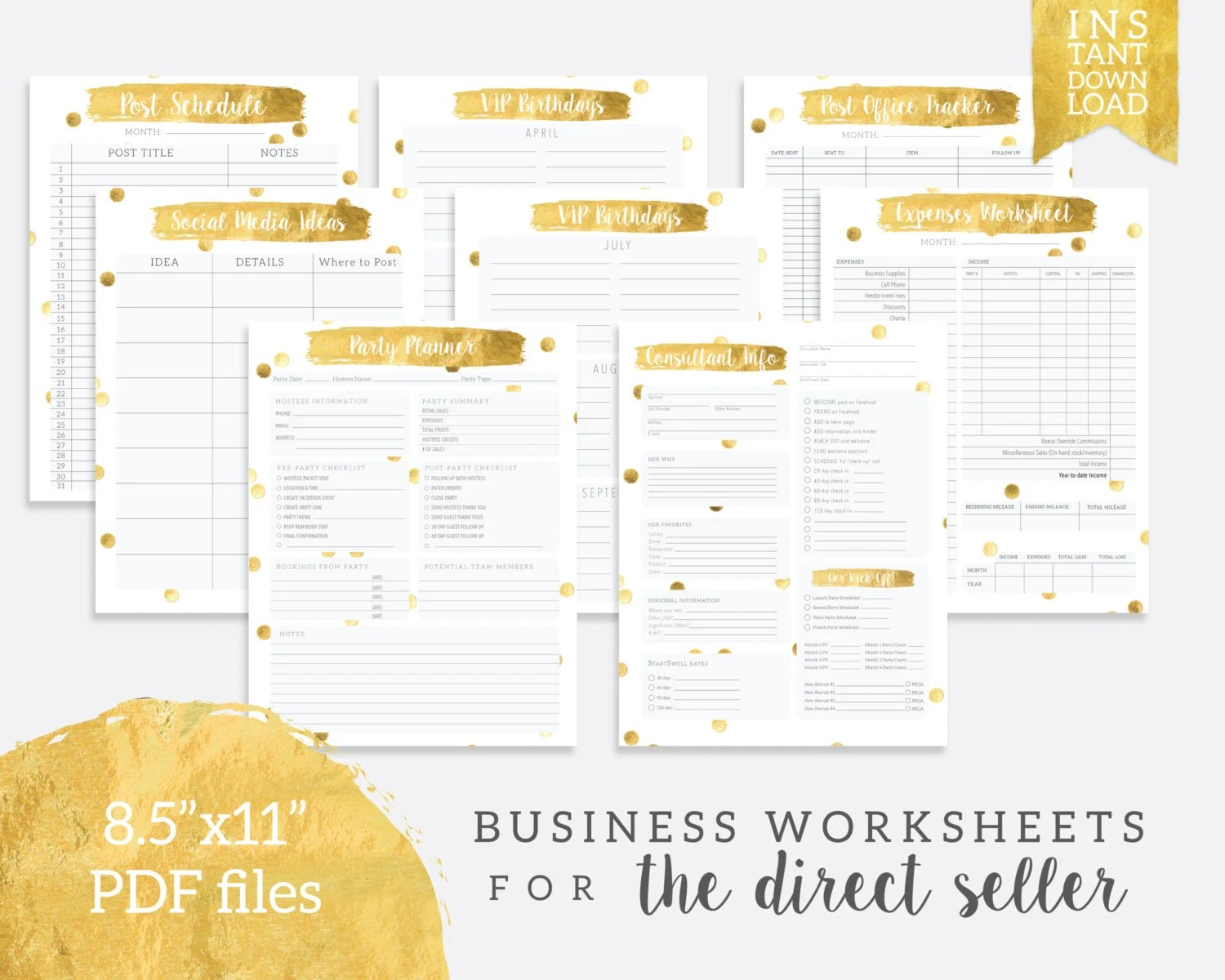 Instant Download Direct Seller Tracker Planner Worksheet