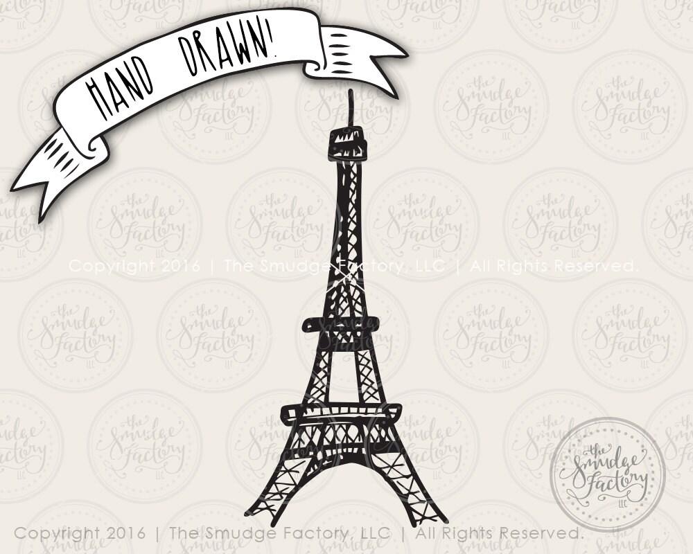 Eiffel Tower SVG Cut File Paris SVG Cutting File Hand