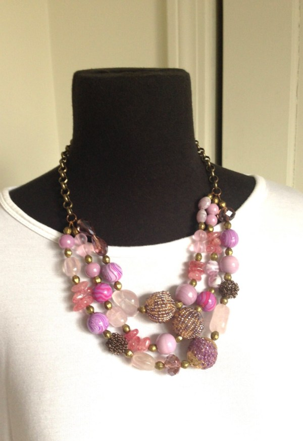 Women necklace jewelry handmade beaded necklace pink