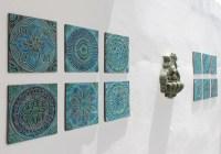 12 tiles Garden decor with ethnic designs Garden art Ceramic
