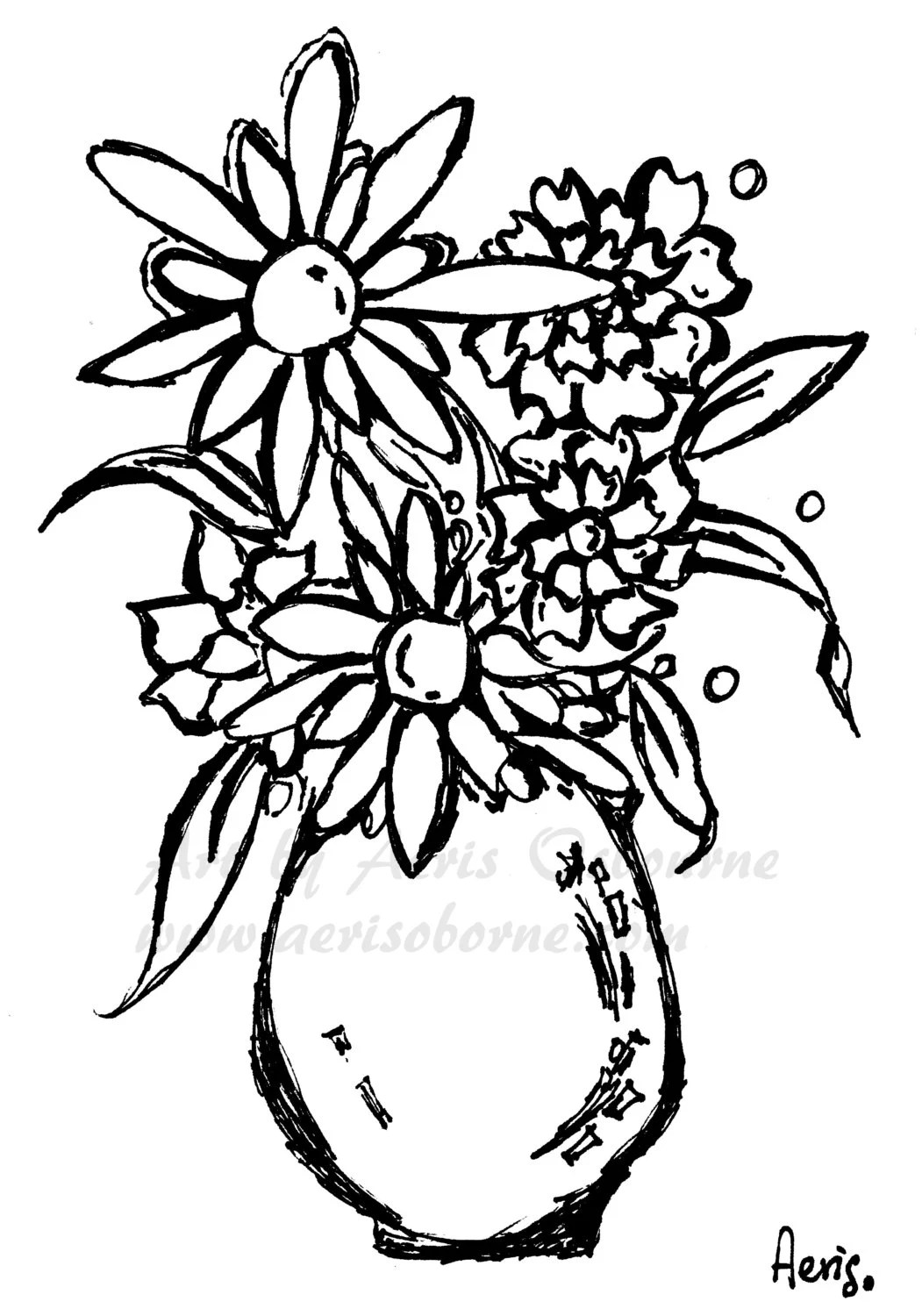 Daisy Flowers Vase Printable Adult Coloring Page Floral