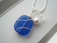 Cobalt Blue Necklace and Earring Set Sea Glass Jewelry