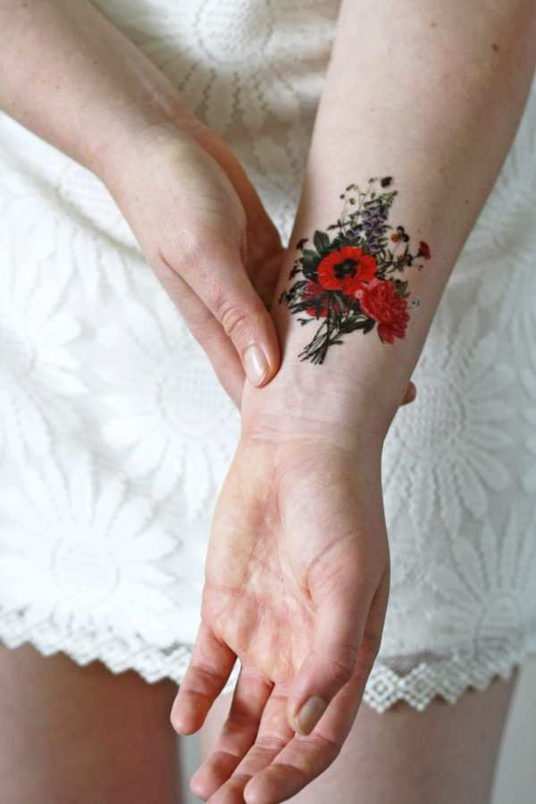 floral vintage temporary tattoo