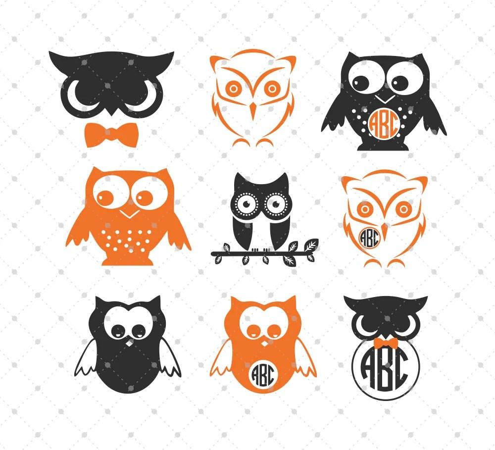 Download Owls SVG Cut Files Owls Monogram Frame SVG Cut Files for