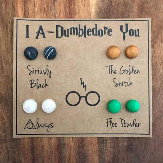 Harry Potter Earrings, Muggle Gift, Hogwarts Jewelry, Golden Snitch, Mischief Managed, Bridesmaid Gift, Gift for Her, Polymer Clay Earrings