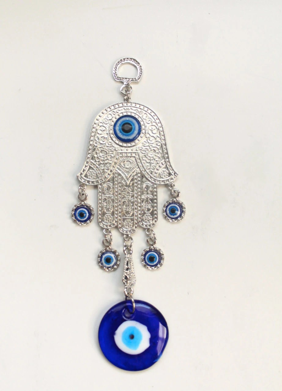 Hamsa Wall Decor/Silver Wall Rug/Blue Evil Eye/Wall