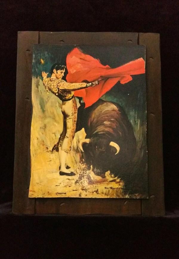 Mid Century Bullfighter Lithograph Matador & Bull Painting