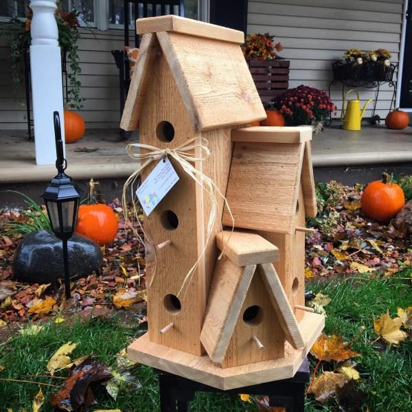 Large Cedar Wood Outdoor Birdhouse Condo Bird House