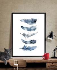 Watercolor Feather Art Print Wall Art Poster Watercolor