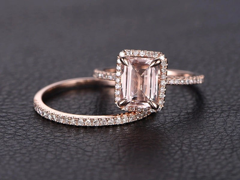 6x8mm Emerald Cut Morganite Ring Set Emerald Cut Engagement