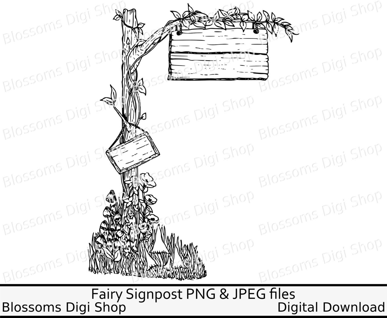 Fairy signpost digital download fairy digi stamp hand drawn