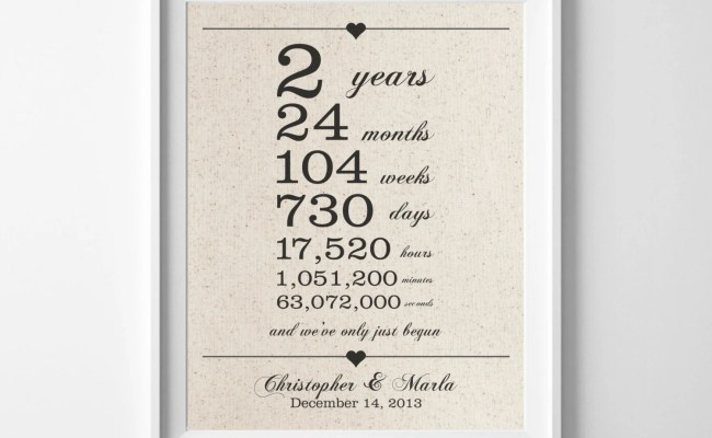 2 Years Together Cotton Anniversary Print 2nd Anniversary