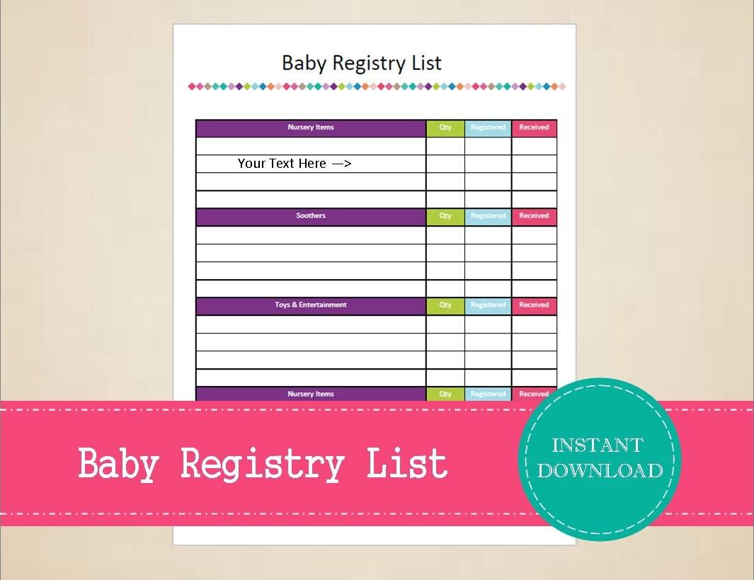Checklist Pdf Free Baby Registry . Sle
