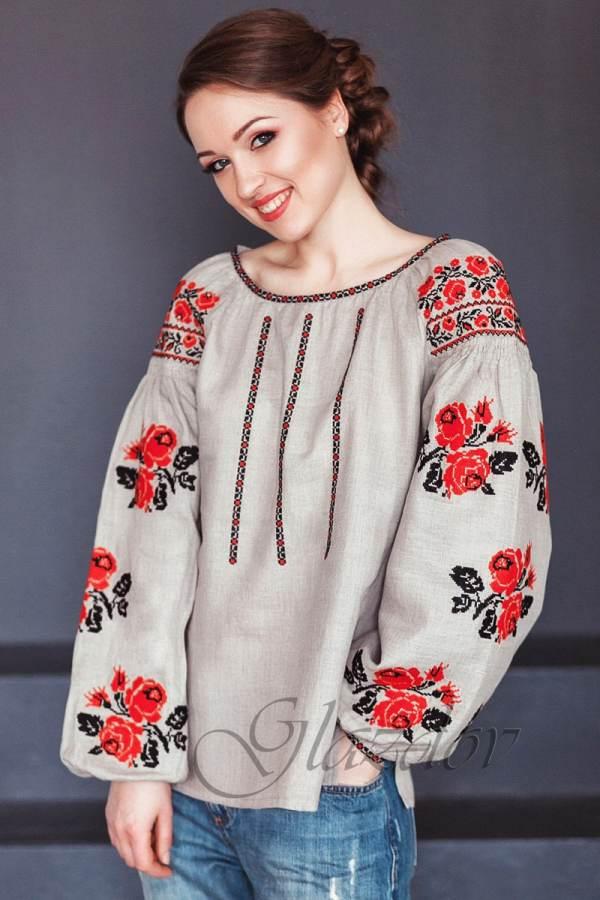 Ukrainian Embroidered Boho Blouse Vyshyvanka Glazdov