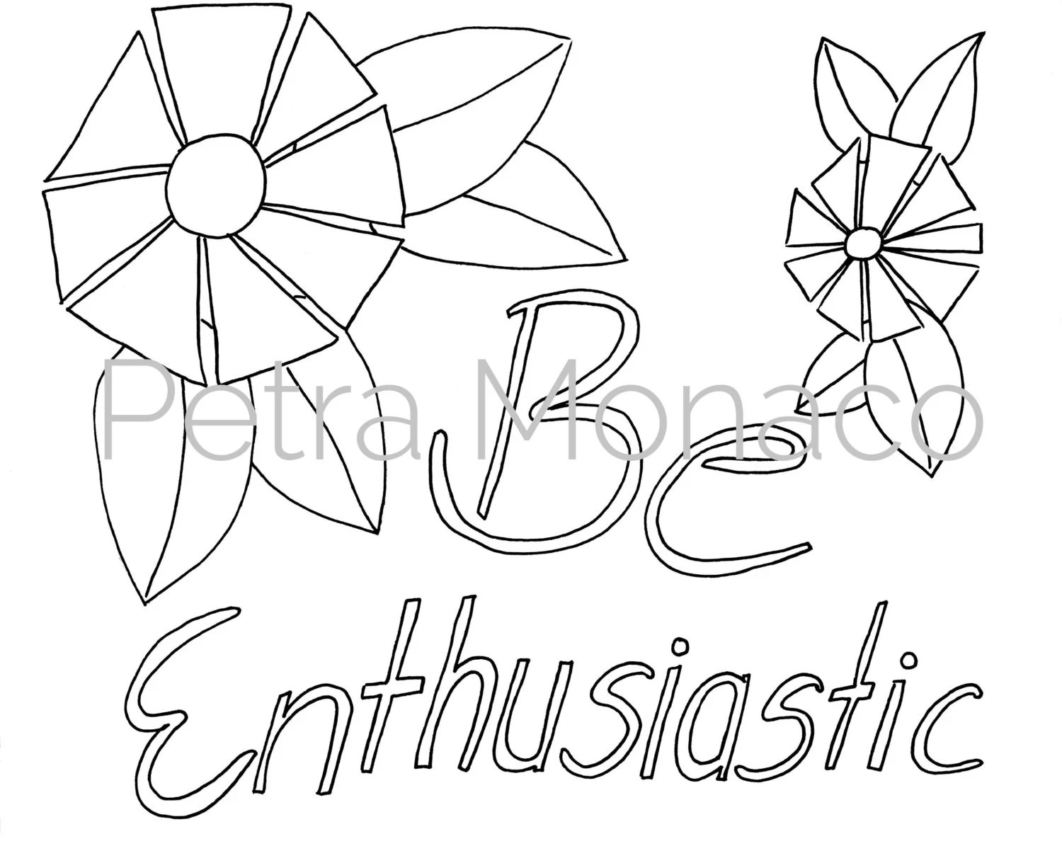 Be Enthusiastic Printable Affirmation Coloring Page