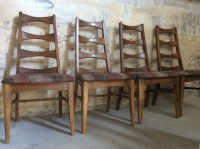 Four Mid Century Bow Tie Ladder Back Chairs Yugoslavian