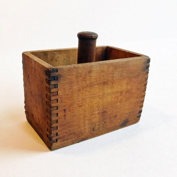 Antique Vintage Wooden Butter Mold Rectangle Wood Box Shape