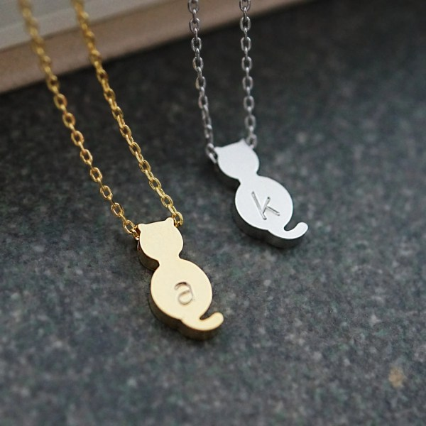 Personalized Kitty Cat Necklace Initial Dainty