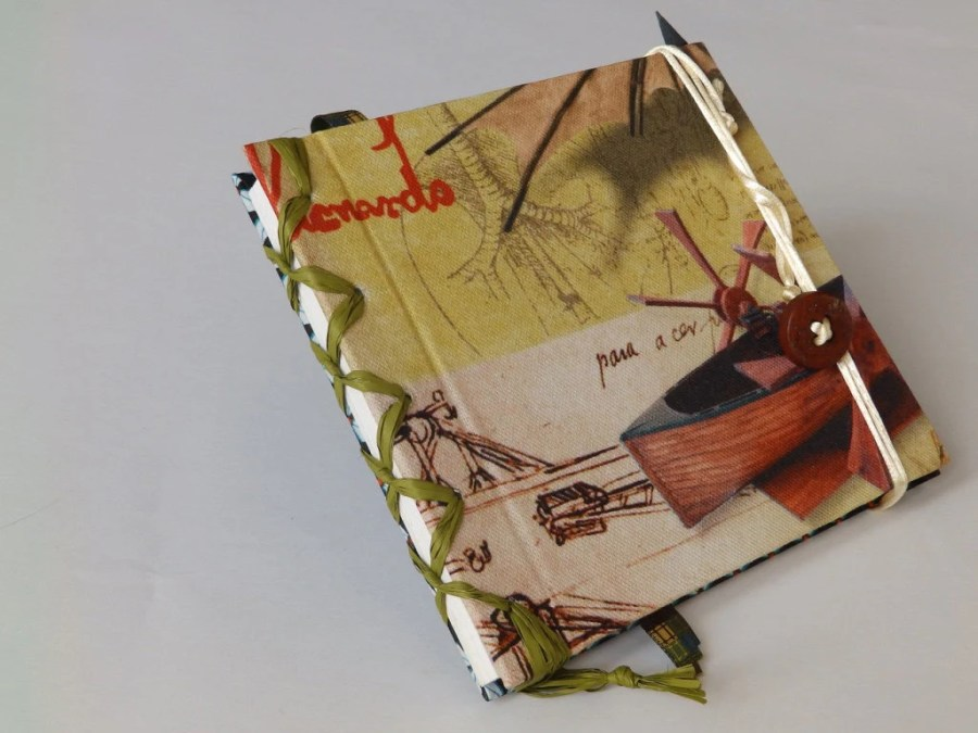 Leonardo da Vinci journal with it's projects on fabric cover, blank book to fill up with projects and ideas, Italian Renaissance sketchbook