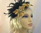 Great Gatsby, Downton Abbey, 1920s Flapper Headpiece, Feather Fascinator, Gold Beaded Art Deco, 1920s Headpiece, Black  Fascinator