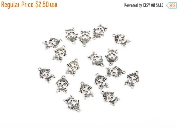 10 PIRATE SKULL Charms silver tone skeleton pendant by